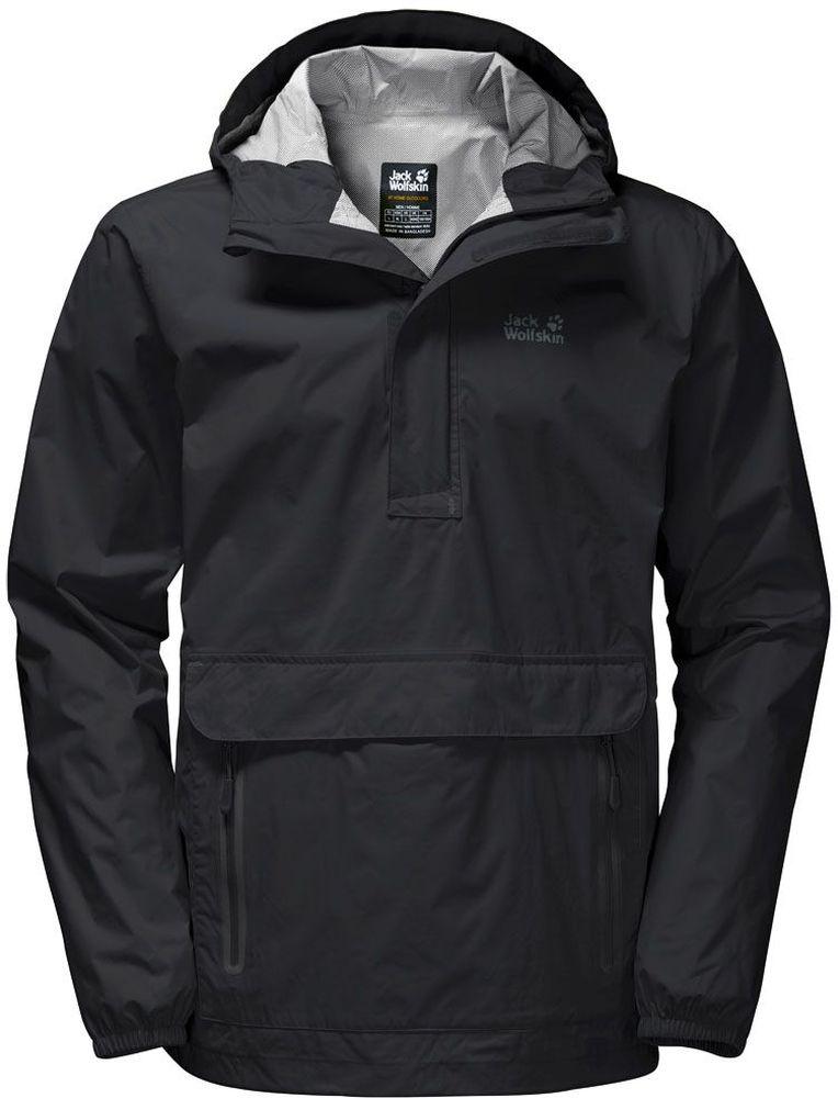 Куртка мужская Jack Wolfskin Cloudburst Smock M, цвет: черный. 1109181-6000. Размер L (48/50)1109181-6000Куртка-анорак Cloudburst Smock изготовлена из 100% полиамида. Ткань легкая, дышащая, водонепроницаемая и непродуваемая. Модель имеет длинные стандартные рукава с манжетами на резинке, капюшон с регулировкой объема и воротник на молнии. Спереди расположен большой карман с клапаном, в котором удобно хранить карты, GPS и другие необходимые в походе вещи, а также два кармана на молнии. Такая куртка идеальна для небольших походов в лесу или в горах. Если вдруг вас застанет дождь, то не переживайте - куртка не даст вам промокнуть, и вы с комфортом доберетесь до места назначения. Модель компактно складывается и не занимает много места в рюкзаке.