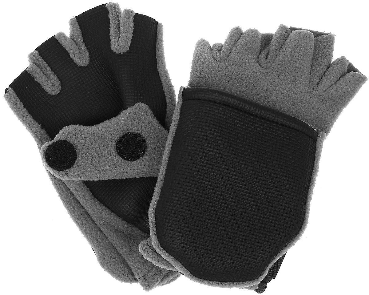 Перчатки-варежки для рыбалки Era Outdoor, цвет: серый, черный. 3040. Размер L (10)3040Теплые перчатки-варежки для рыбалки Era Outdoo выполнены из флиса и неопрена. Такие перчатки позволяют рыболову оставить открытыми лишь верхние фаланги пальцев, что позволяет удобно держать удочку, насаживать наживку или снимать с крючка рыбу. При необходимости фаланги пальцев можно закрыть капюшоном. Капюшон фиксируется на перчатке при помощи липучки. Манжеты изделия присборены на резинку и дополнены эластичными хлястиками с липучками. На большом пальце имеется разрез. Такие перчатки предоставляют максимально возможный комфорт при открытых рабочих пальцах и хорошую защиту от холода и ветра.