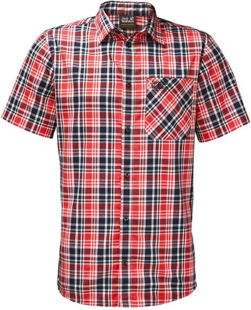 Рубашка мужская Jack Wolfskin Saint Elmos Shirt M, цвет: красный. 1401582-7889. Размер L (48/50)1401582-7889Рубашка мужская Saint Elmos Shirt M изготовлена из 100% полиамида. Ткань легкая и дышащая, кроме того, она быстро сохнет и обладает защитой от ультрафиолета (UPF 30+). Рубашка застегивается на пуговицы, имеет отложной воротник и короткие стандартные рукава. Спереди расположен накладной нагрудный карман, по бокам имеются вшитые карманы. Модель дополнена принтом в клетку и логотипом бренда. Такая рубашка идеально подходит для путешествий в жаркие страны и отдыха на природе.