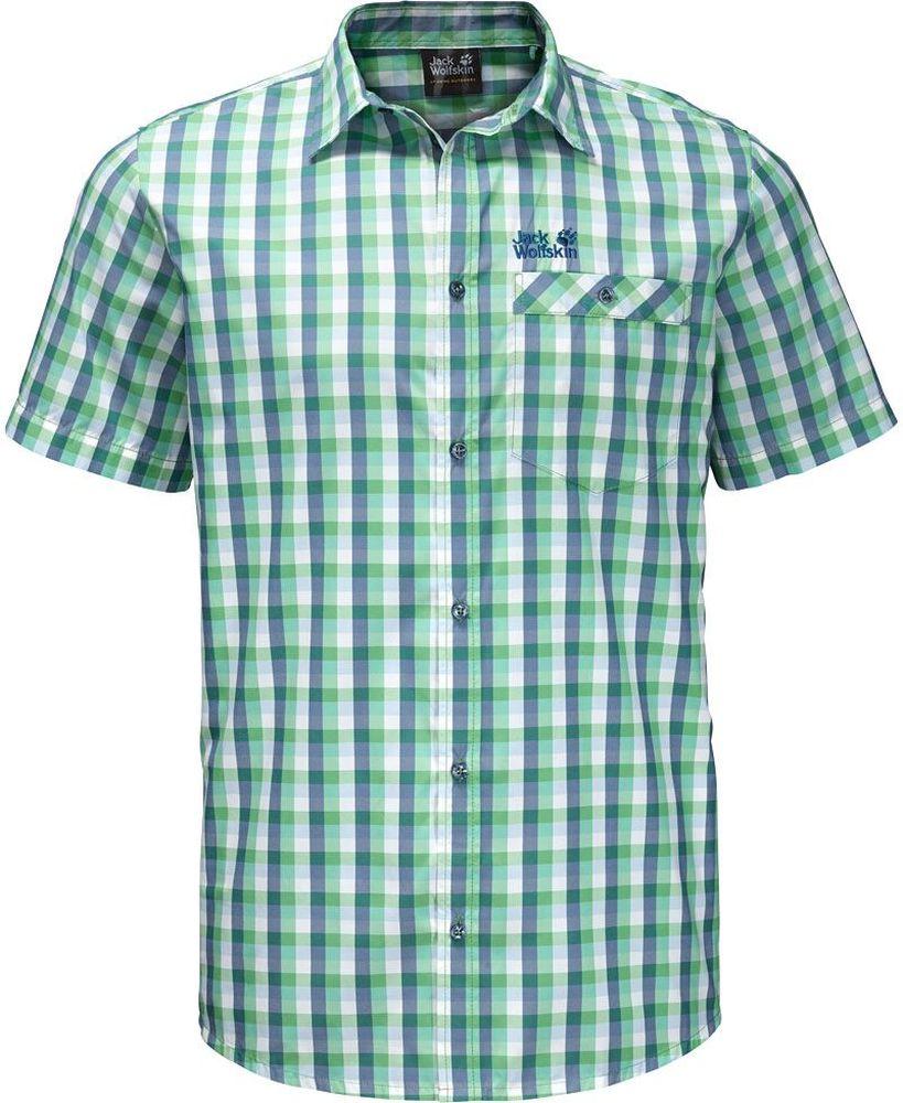 Рубашка мужская Jack Wolfskin Napo River Shirt, цвет: зеленый, синий. 1402301-8730. Размер L (48/50)1402301-8730Рубашка мужская Napo River Shirt изготовлена из полиэстера и полиамида. Ткань легкая, дышащая и прочная, кроме того, она обладает защитой от ультрафиолета (UPF 50+) и минимизирует образование неприятных запахов даже после нескольких дней активной носки. Рубашка застегивается на пуговицы, имеет отложной воротник и короткие стандартные рукава. Спереди расположен накладной нагрудный карман на пуговице. Модель дополнена принтом в клетку и логотипом бренда. Такая рубашка идеально подходит для путешествий в жаркие страны и отдыха на природе.