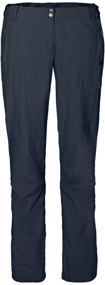 Брюки женские Jack Wolfskin Kalahari Pants W, цвет: темно-синий. 1503311-1010. Размер 44 (54)1503311-1010Брюки женские Kalahari Pants W выполнены из ткани SUPPLEX (100% полиамид). Брюки имеют множество преимуществ, особенно практичных в путешествии по жарким регионам: они легкие, защищают от ультрафиолетового излучения (UPF 40+) и упаковываются очень компактно. К тому же материал очень быстро сохнет. Модель застегивается на ширинку с молнией и пуговицу в поясе. Пояс дополнен шлевками для ремня. Брюки имеют два втачных кармана спереди и два кармана сзади. Kalahari Pants W - сочетание нужных качеств для путешествий, летних походов и будней.