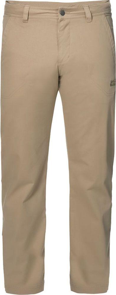 Брюки мужские Jack Wolfskin Drake Pants, цвет: бежевый. 1503811-5605. Размер 501503811-5605Брюки мужские Drake Pants изготовлены из ткани FUNCTION 65 с высоким содержанием натурального хлопка, что делает изделие мягким и приятным на ощупь. Ткань обладает защитой от влаги и ветра, а также отличается прочностью. Модель имеет прямой силуэт и стандартную талию. Застегивается на ширинку с молнией и пуговицу в поясе, также имеются шлевки для ремня. Брюки имеют два втачных кармана спереди и два накладных кармана сзади. Идеальный вариант для путешествий, хайкинга в горах и повседневной носки.