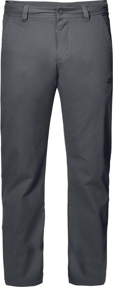 Брюки мужские Jack Wolfskin Drake Pants, цвет: серый. 1503811-6116. Размер 561503811-6116Брюки мужские Drake Pants изготовлены из ткани FUNCTION 65 с высоким содержанием натурального хлопка, что делает изделие мягким и приятным на ощупь. Ткань обладает защитой от влаги и ветра, а также отличается прочностью. Модель имеет прямой силуэт и стандартную талию. Застегивается на ширинку с молнией и пуговицу в поясе, также имеются шлевки для ремня. Брюки имеют два втачных кармана спереди и два накладных кармана сзади. Идеальный вариант для путешествий, хайкинга в горах и повседневной носки.