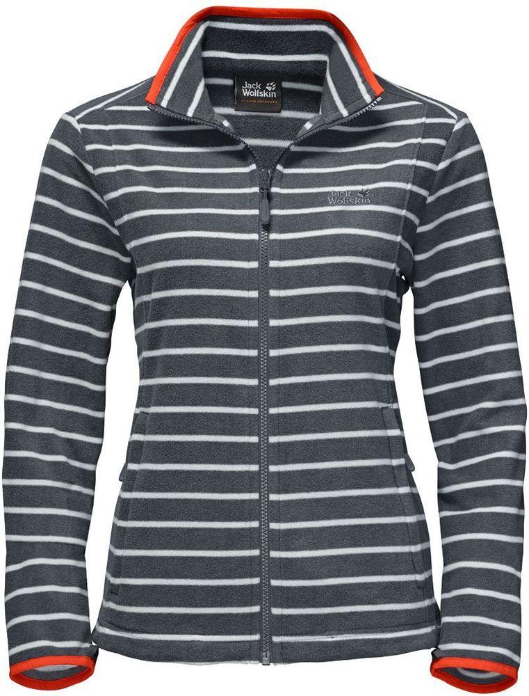 Толстовка женская Jack Wolfskin Kiruna Striped W, цвет: серый, белый. 1704731-9511. Размер L (48)1704731-9511Толстовка женская Kiruna Striped W изготовлена из микрофлиса (100% полиэстер), который прекрасно сохраняет тепло. Модель застегивается на молнию, имеет воротник-стойку и длинные стандартные рукава. По бокам расположены вшитые карманы на молнии. Толстовка очень компактно складывается и не занимает много места при хранении в вашем рюкзаке. Молния толстовки системная, что позволяет сочетать модель с любым совместимым дождевиком. Изделие дополнено принтом в полоску и логотипом бренда на груди. Такая модель идеально подходит для походов, хайкинга, пешего туризма.