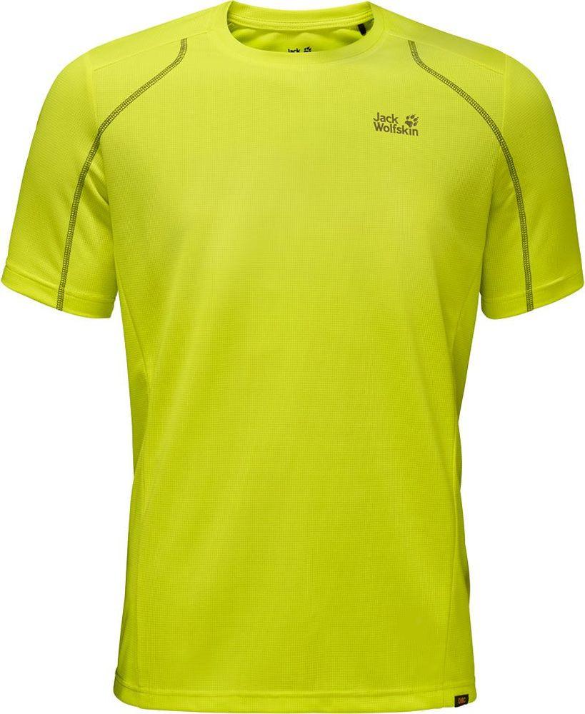 Футболка мужская Jack Wolfskin Helium Chill T-Shirt M, цвет: салатовый. 1804441-4088. Размер XL (52)1804441-4088Футболка мужская Helium Chill T-Shirt M изготовлена из 100% полиэстера. Ткань обладает терморегулирующим эффектом, контролирует влажность и охлаждает тело. Легкая ткань прекрасно адаптируется к вашей температуре тела, хорошо дышит и быстро поглощает влагу - чтобы вы чувствовали себя комфортно на протяжении дня. Модель имеет круглый вырез горловины и короткие стандартные рукава. Футболка дополнена логотипом бренда и декоративной стежкой, которая придает модели спортивный облик.
