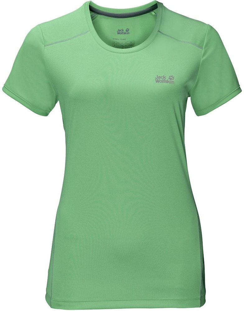 Футболка женская Jack Wolfskin Rock Chill T-Shirt W, цвет: зеленый. 1805411-4154. Размер M (46)1805411-4154Футболка женская Rock Chill T-Shirt W выполнена из 100% полиэстера с уникальным эффектом терморегуляции. Ткань охлаждает, когда жарко, и согревает, когда прохладно. Она легкая и мягкая, быстро сохнет, приятная на ощупь и очень прочная. Кроме того, специальная обработка уменьшает образование неприятных запахов. Модель имеет круглый вырез горловины и короткие рукава. Такая футболка идеальна для бега, пеших прогулок и отдыха на природе.
