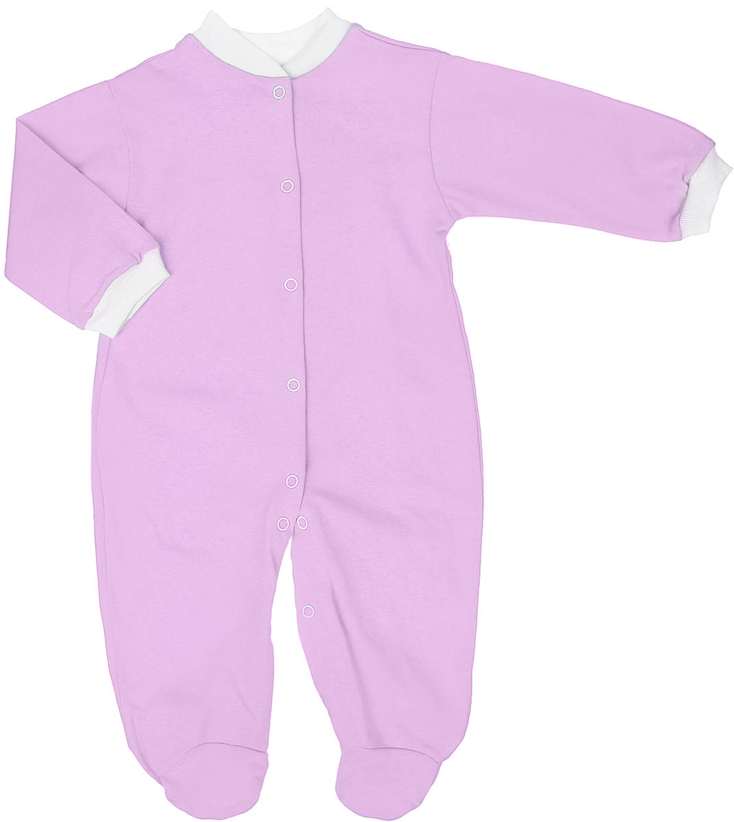 Комбинезон детский Чудесные одежки, цвет: розовый. 5801. Размер 565801Удобный детский комбинезон Чудесные одежки выполнен из натурального хлопка.Комбинезон с небольшим воротничком-стойкой, длинными рукавами и закрытыми ножками имеет застежки-кнопки спереди и на ластовице, которые помогают легко переодеть младенца или сменить подгузник. Воротничок и манжеты на рукавах выполнены из трикотажной эластичной резинки. Изделие оформлено в лаконичном дизайне.