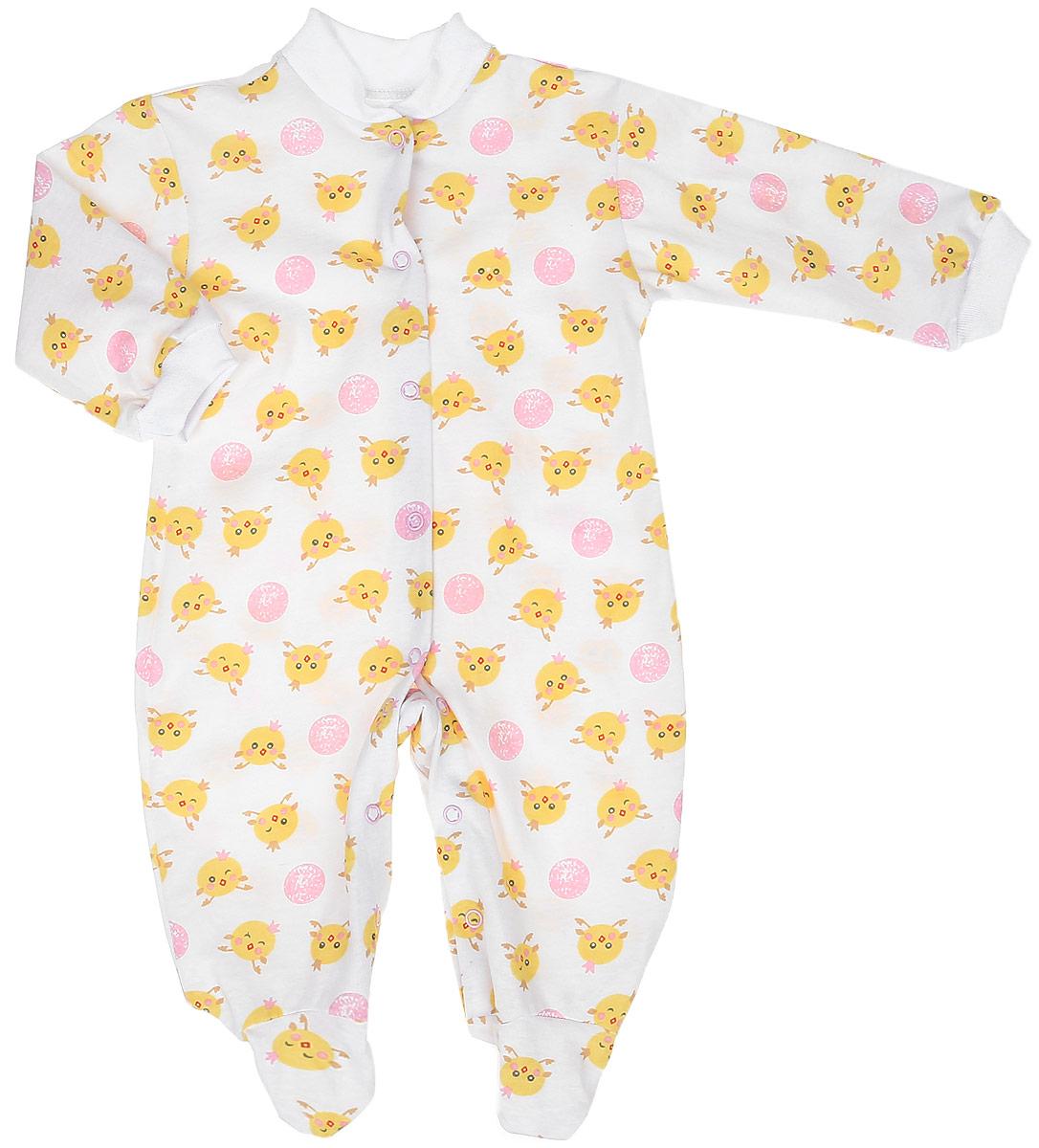 Комбинезон детский Чудесные одежки, цвет: белый, розовый. 5801. Размер 805801Удобный детский комбинезон Чудесные одежки выполнен из натурального хлопка.Комбинезон с небольшим воротником-стойкой, длинными рукавами и закрытыми ножками имеет застежки-кнопки спереди и на ластовице, которые помогают легко переодеть младенца или сменить подгузник. Воротничок и манжеты на рукавах выполнены из трикотажной эластичной резинки. Изделие оформлено принтом с изображением цыплят.
