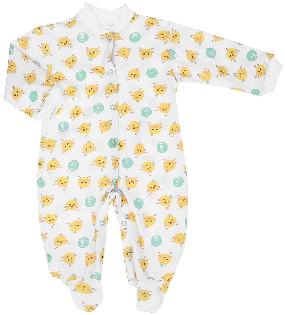 Комбинезон детский Чудесные одежки, цвет: белый, салатовый. 5801. Размер 865801Удобный детский комбинезон Чудесные одежки выполнен из натурального хлопка.Комбинезон с небольшим воротником-стойкой, длинными рукавами и закрытыми ножками имеет застежки-кнопки спереди и на ластовице, которые помогают легко переодеть младенца или сменить подгузник. Воротничок и манжеты на рукавах выполнены из трикотажной эластичной резинки. Изделие оформлено принтом с изображением цыплят.