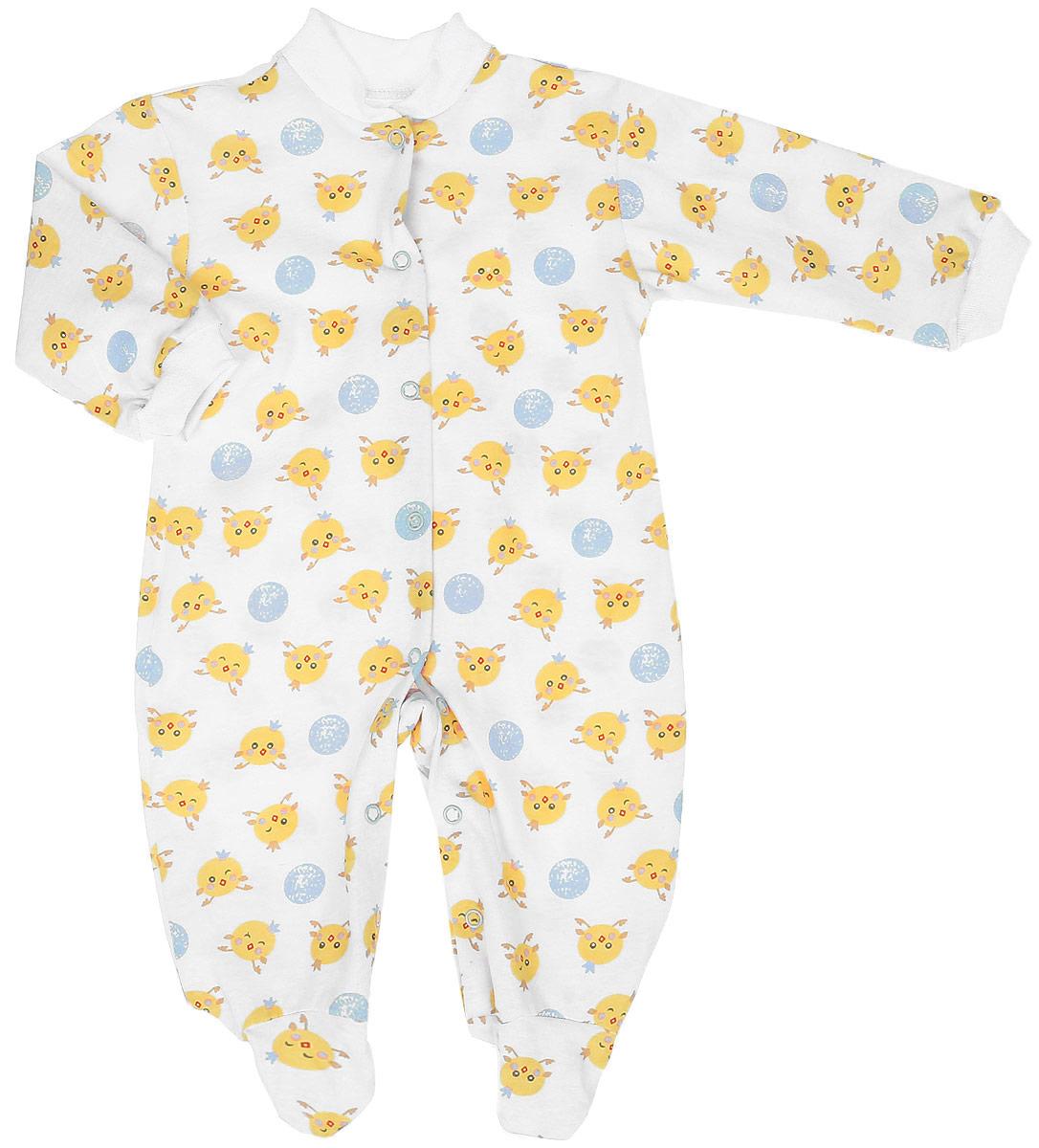 Комбинезон детский Чудесные одежки, цвет: белый, голубой. 5801. Размер 565801Удобный детский комбинезон Чудесные одежки выполнен из натурального хлопка.Комбинезон с небольшим воротником-стойкой, длинными рукавами и закрытыми ножками имеет застежки-кнопки спереди и на ластовице, которые помогают легко переодеть младенца или сменить подгузник. Воротничок и манжеты на рукавах выполнены из трикотажной эластичной резинки. Изделие оформлено принтом с изображением цыплят.