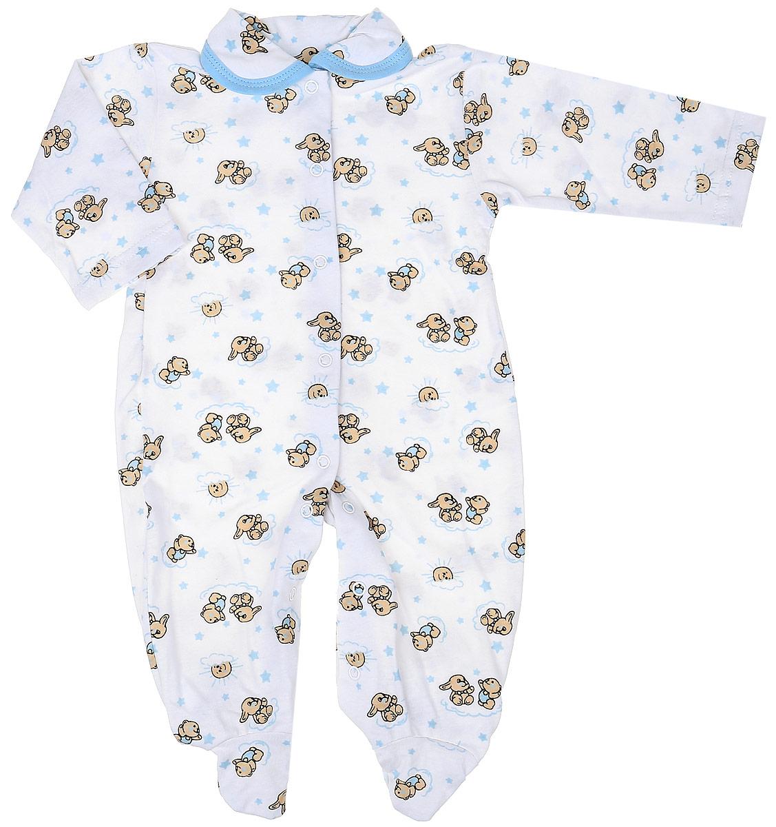 Комбинезон детский Чудесные одежки, цвет: белый, голубой. 5805. Размер 565805Детский комбинезон Чудесные одежки выполнен из натурального хлопка.Комбинезон с отложным воротничком, длинными рукавами и закрытыми ножками имеет застежки-кнопки спереди и на ластовице, которые помогают легко переодеть младенца или сменить подгузник. Изделие оформлено принтом с изображением зайчиков.