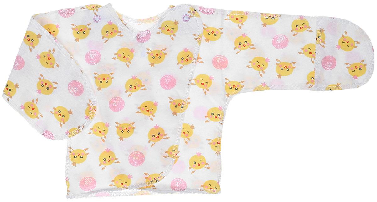 Распашонка-кимоно Чудесные одежки, цвет: белый, розовый. 5003. Размер 565003Удобная детская распашонка Чудесные одежки послужит идеальным дополнением к гардеробу вашей крохи. Модель изготовлена из натурального хлопка, благодаря чему она очень мягкая и легкая.Распашонка с круглым вырезом горловины и длинными цельнокроеными рукавами выполнена швами наружу и дополнена защитными рукавичками. Модель-кимоно застегивается на внутреннюю и внешнюю кнопку, что помогает при переодевании малыша. Оформлена распашонка интересным принтом с изображением цыплят.