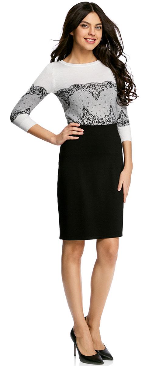 Юбка oodji Collection, цвет: черный. 24101048B/45176/2900N. Размер M (46)24101048B/45176/2900NКлассическая юбка-карандаш выполнена из высококачественного материла. Сзади застегивается на потайную застежку-молнию.