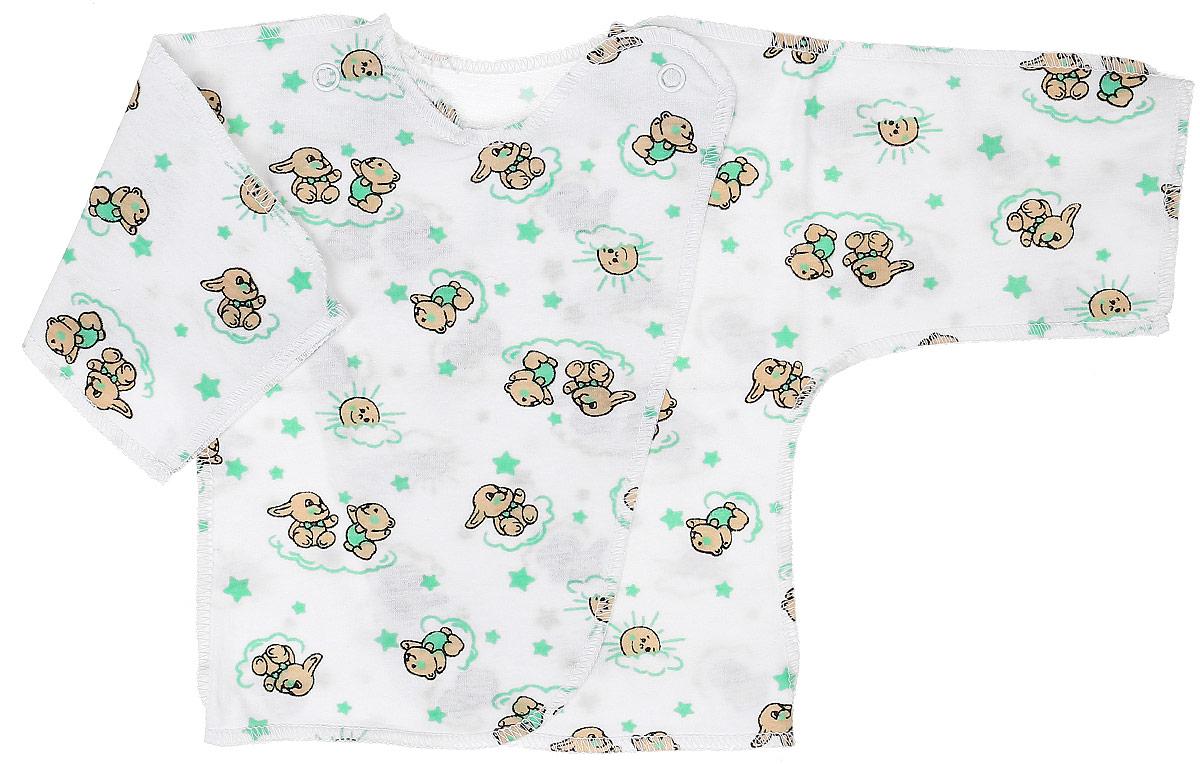 Распашонка-кимоно Чудесные одежки, цвет: белый, салатовый. 5002. Размер 565002Удобная детская распашонка Чудесные одежки послужит идеальным дополнением к гардеробу вашей крохи. Модель изготовлена из натурального хлопка, благодаря чему она очень мягкая и легкая.Распашонка с круглым вырезом горловины и длинными цельнокроеными рукавами выполнена швами наружу. Модель-кимоно застегивается на внутреннюю и внешнюю кнопку, что помогает при переодевании малыша. Оформлена распашонка интересным принтом с изображением зайчиков.