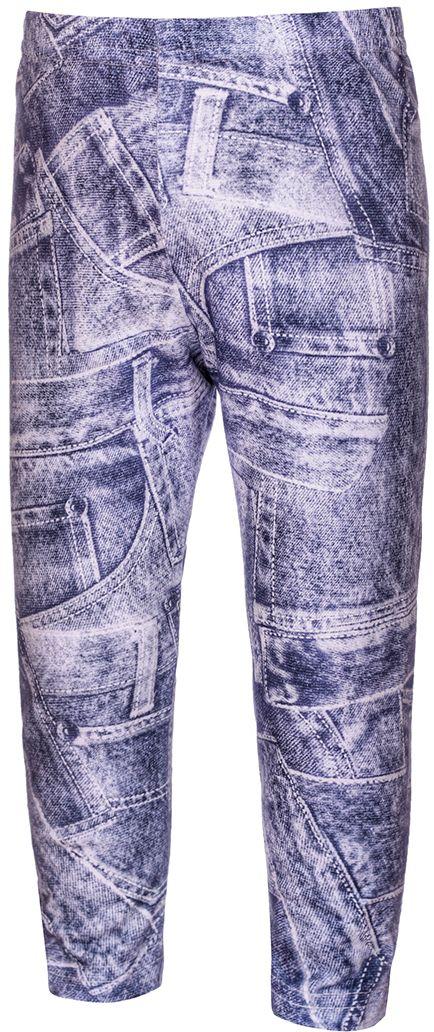 Леггинсы для девочки M&D, цвет: бело-синий. БЖ10111. Размер 104БЖ10111Леггинсы для девочки M&D изготовлены из натурального хлопка с добавлением лайкры. Леггинсы имеют широкую эластичную резинку на поясе. Изделие оформлено стильным джинсовым принтом.