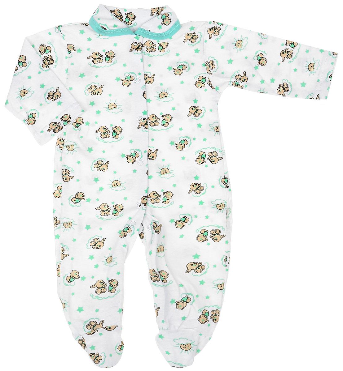 Комбинезон детский Чудесные одежки, цвет: белый, салатовый. 5805. Размер 745805Детский комбинезон Чудесные одежки выполнен из натурального хлопка.Комбинезон с отложным воротничком, длинными рукавами и закрытыми ножками имеет застежки-кнопки спереди и на ластовице, которые помогают легко переодеть младенца или сменить подгузник. Изделие оформлено принтом с изображением зайчиков.