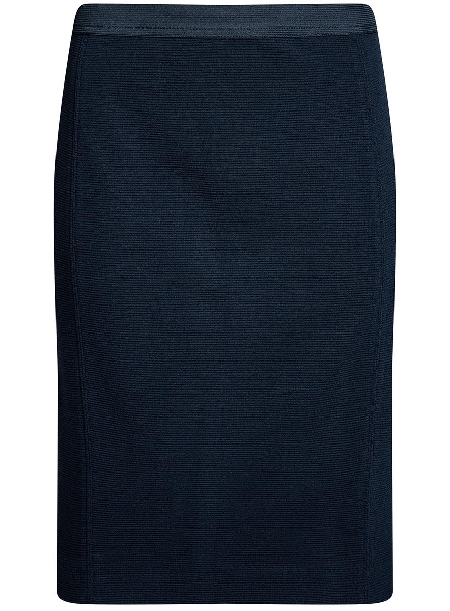 Юбка oodji Ultra, цвет: темно-синий. 14101084-1/46389/7900N. Размер XXS (40)14101084-1/46389/7900NСтильная юбка облегающего кроя выполнена из высококачественной ткани в рубчик. Сзади модель дополнена шлицей.