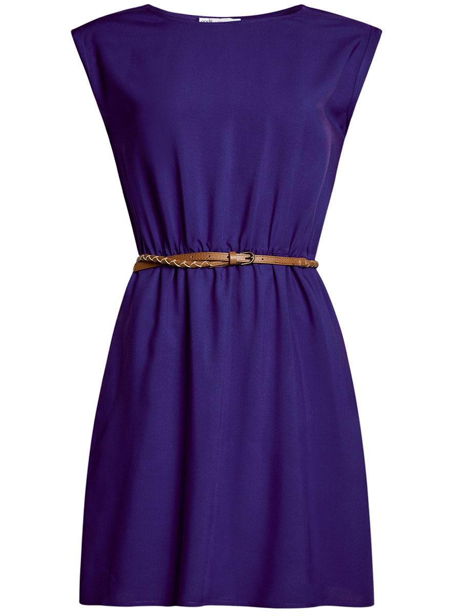 Платье oodji Ultra, цвет: темно-синий. 11910073B/26346/7502N. Размер 34-170 (40-170)11910073B/26346/7502NПлатье oodji Ultra, выгодно подчеркивающее достоинства фигуры, выполнено из легкой струящейся ткани. Модель мини-длины с круглым вырезом горловины и короткими рукавами дополнена двумя прорезными карманами на юбке.В комплект с платьемвходит узкий ремень из искусственной кожи с металлической пряжкой.