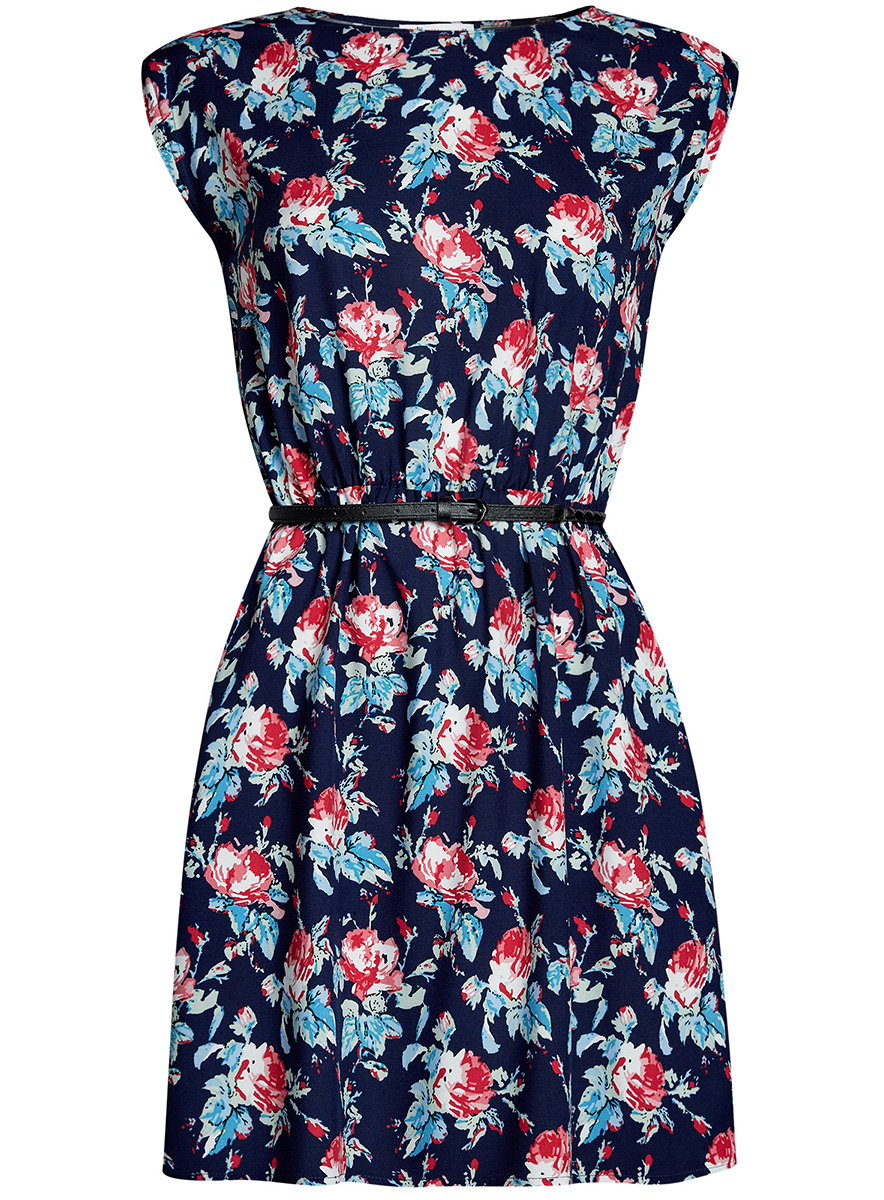 Платье oodji Ultra, цвет: темно-синий, розовый. 11910073B/26346/7941F. Размер 42-170 (48-170)11910073B/26346/7941FПлатье oodji Ultra, выгодно подчеркивающее достоинства фигуры, выполнено из легкой струящейся ткани. Модель мини-длины с круглым вырезом горловины и короткими рукавами дополнена двумя прорезными карманами на юбке.В комплект с платьемвходит узкий ремень из искусственной кожи с металлической пряжкой.