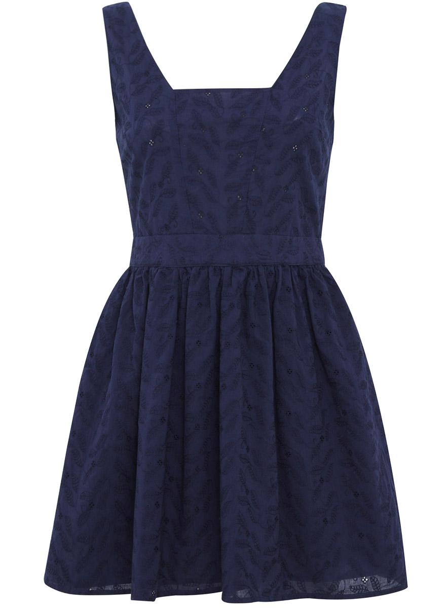 Платье oodji Ultra, цвет: темно-синий. 11900192/42854/7900N. Размер 34-170 (40-170)11900192/42854/7900NЭлегантное платье с глубоким вырезом на спинке oodji Ultra, выгодно подчеркивающее достоинства фигуры, выполнено из натурального хлопка. Модель средней длины с пышной юбкой и квадратным вырезом горловины застегивается на скрытую застежку-молнию на спинке.