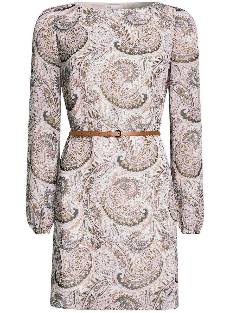 Платье oodji Ultra, цвет: коричневый, бежевый. 11900150-9B/19538/3733E. Размер 42-170 (48-170)11900150-9B/19538/3733EСтильное платье oodji Ultra выполнено из полиэстера и оформлено стильным узором. Модель с круглым вырезом горловины и длинными рукавами дополнена узким ремнем из искусственной кожи с металлической пряжкой. Низ рукавов собран на резинку.