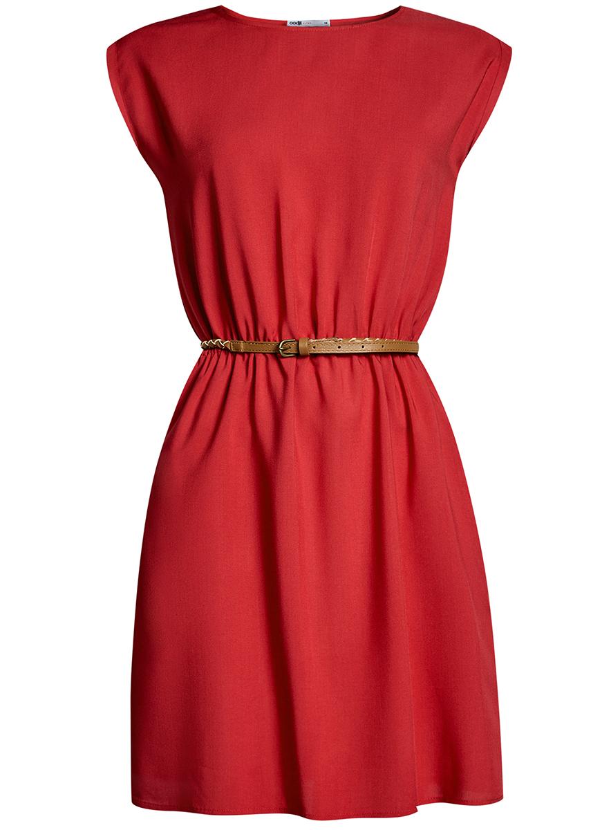 Платье oodji Ultra, цвет: красный. 11910073B/26346/4500N. Размер 38-170 (44-170)11910073B/26346/4500NПлатье oodji Ultra, выгодно подчеркивающее достоинства фигуры, выполнено из легкой струящейся ткани. Модель мини-длины с круглым вырезом горловины и короткими рукавами дополнена двумя прорезными карманами на юбке.В комплект с платьемвходит узкий ремень из искусственной кожи с металлической пряжкой.