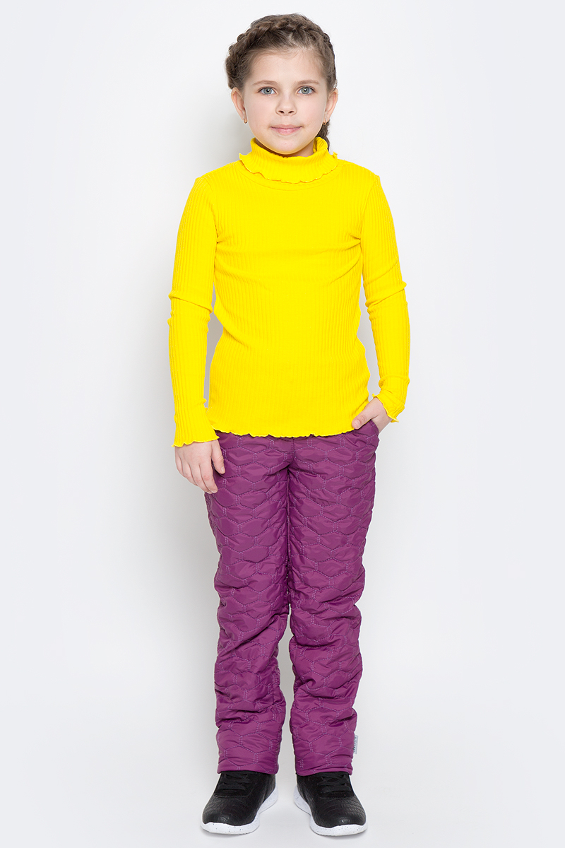 Брюки утепленные для девочки Boom!, цвет: фиолетовый. 70019_BOG_вар.3. Размер 134, 9-10 лет70019_BOG_вар.3Утепленные брюки для девочки Boom! изготовлены из полиэстера с флисовой подкладкой. Модель застегивается на молнию и металлическую кнопку. Стеганые брюки прямого кроя имеют два втачных кармана. Объем пояса регулируется за счет скрытой резинки на пуговицах. Низ брючин при необходимости можно подогнуть.