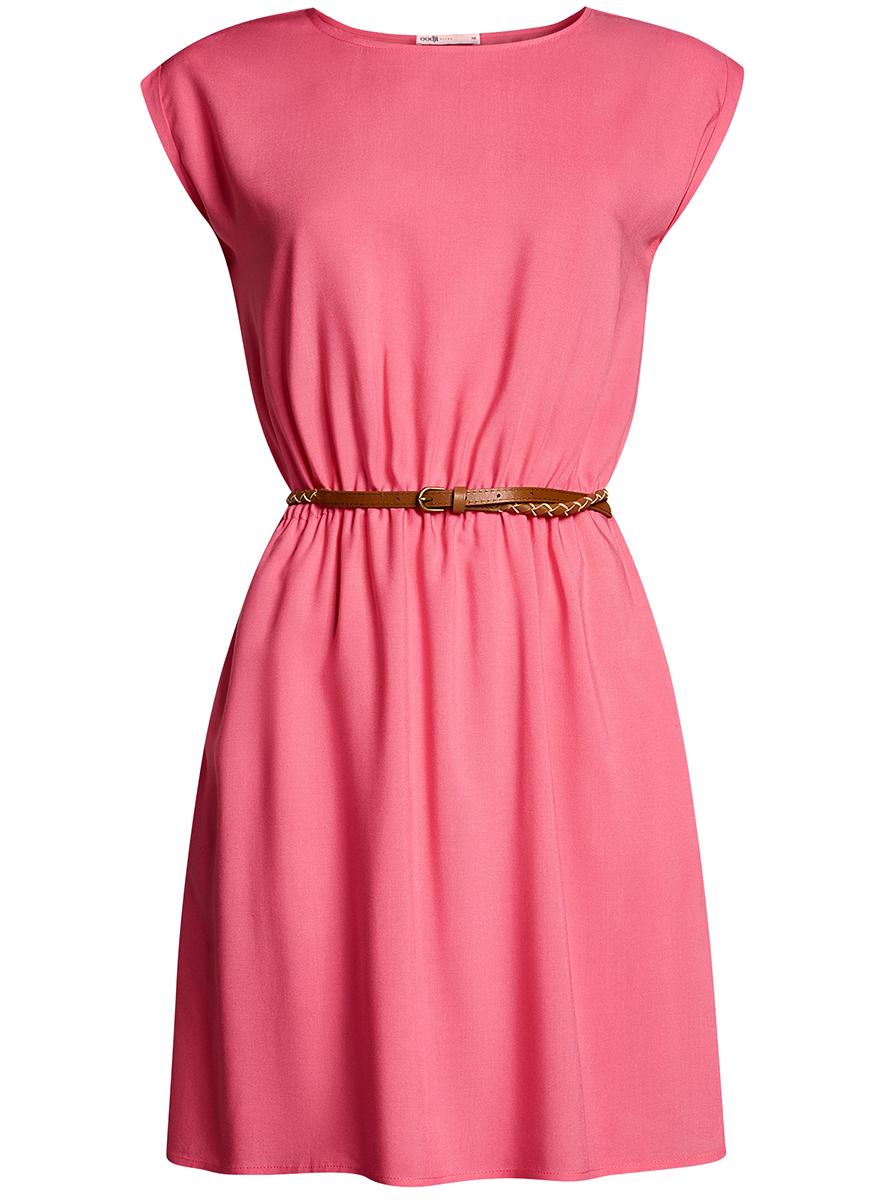 Платье oodji Ultra, цвет: ярко-розовый. 11910073B/26346/4D00N. Размер 34-170 (40-170)11910073B/26346/4D00NПлатье oodji Ultra, выгодно подчеркивающее достоинства фигуры, выполнено из легкой струящейся ткани. Модель мини-длины с круглым вырезом горловины и короткими рукавами дополнена двумя прорезными карманами на юбке.В комплект с платьемвходит узкий ремень из искусственной кожи с металлической пряжкой.