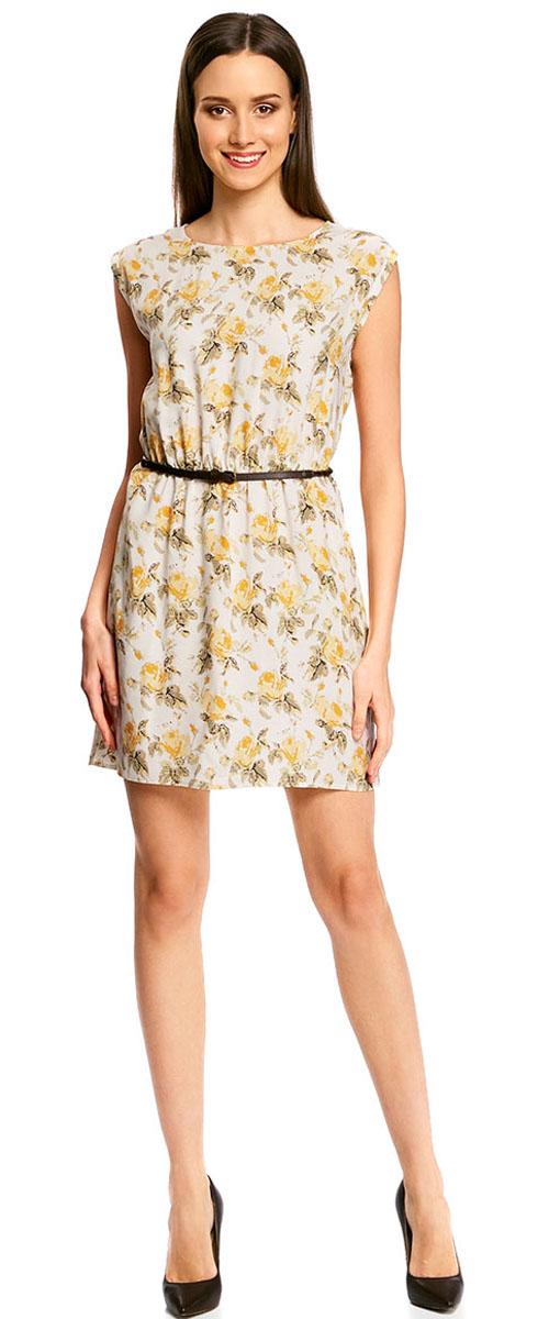 Платье oodji Ultra, цвет: светло-желтый, желтый. 11910073B/26346/5052F. Размер 42-170 (48-170)11910073B/26346/5052FПлатье oodji Ultra, выгодно подчеркивающее достоинства фигуры, выполнено из легкой струящейся ткани. Модель мини-длины с круглым вырезом горловины и короткими рукавами дополнена двумя прорезными карманами на юбке.В комплект с платьемвходит узкий ремень из искусственной кожи с металлической пряжкой.
