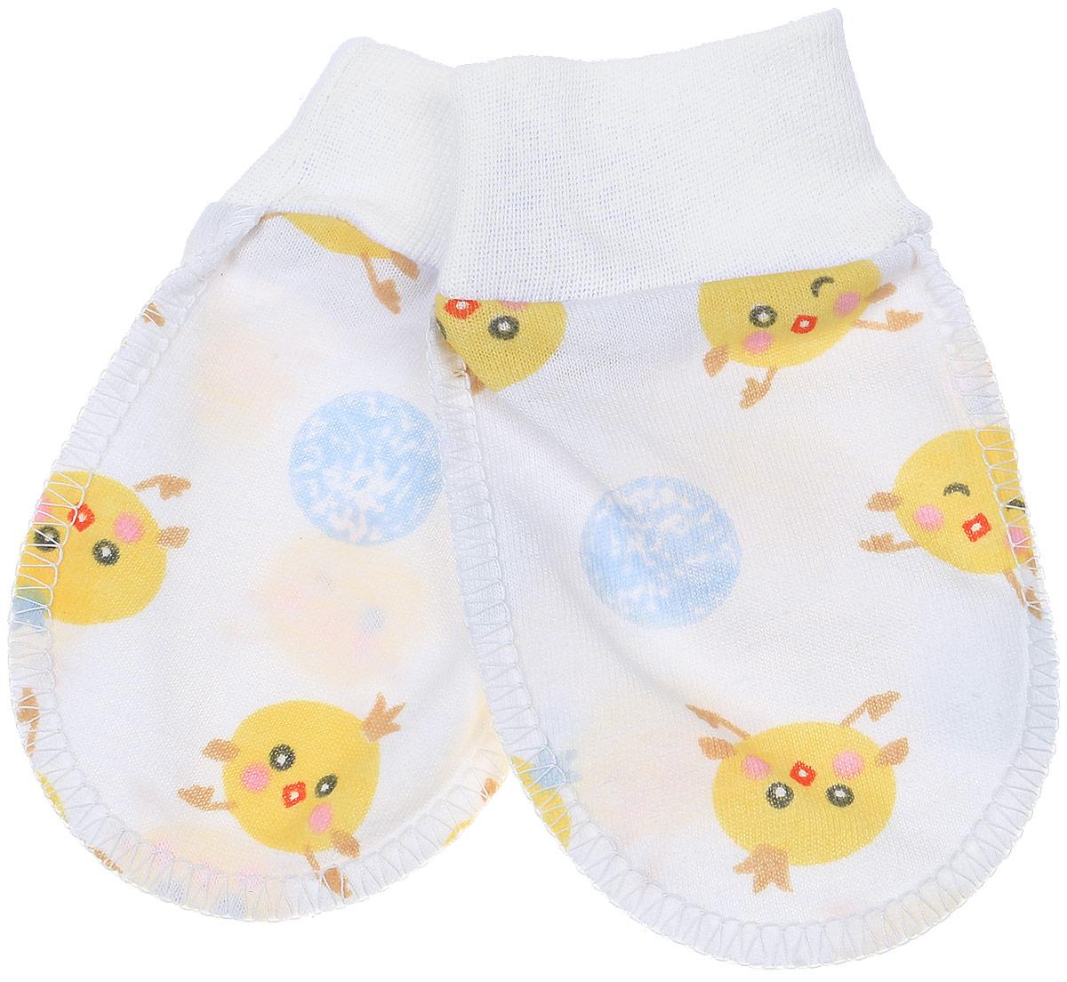 Рукавички Чудесные одежки, цвет: белый, голубой, желтый. 5906. Размер 625906Рукавички для младенцев Чудесные одежки изготовлены из натурального хлопка. Они не раздражают нежную кожу ребенка. Широкие мягкие резинки не стягивают ручки. Швы выполнены на лицевую сторону.