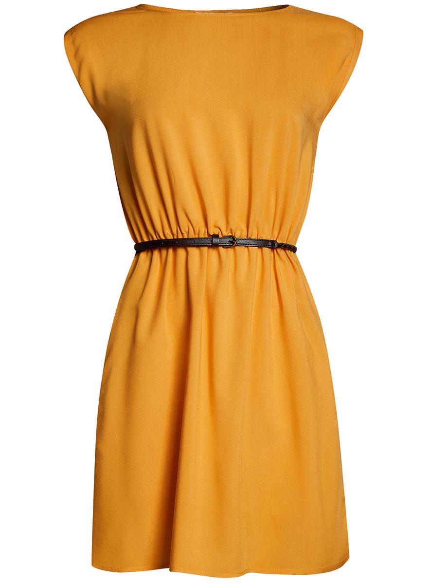 Платье oodji Ultra, цвет: желтый. 11910073B/26346/5200N. Размер 34-170 (40-170)11910073B/26346/5200NПлатье oodji Ultra, выгодно подчеркивающее достоинства фигуры, выполнено из легкой струящейся ткани. Модель мини-длины с круглым вырезом горловины и короткими рукавами дополнена двумя прорезными карманами на юбке.В комплект с платьемвходит узкий ремень из искусственной кожи с металлической пряжкой.