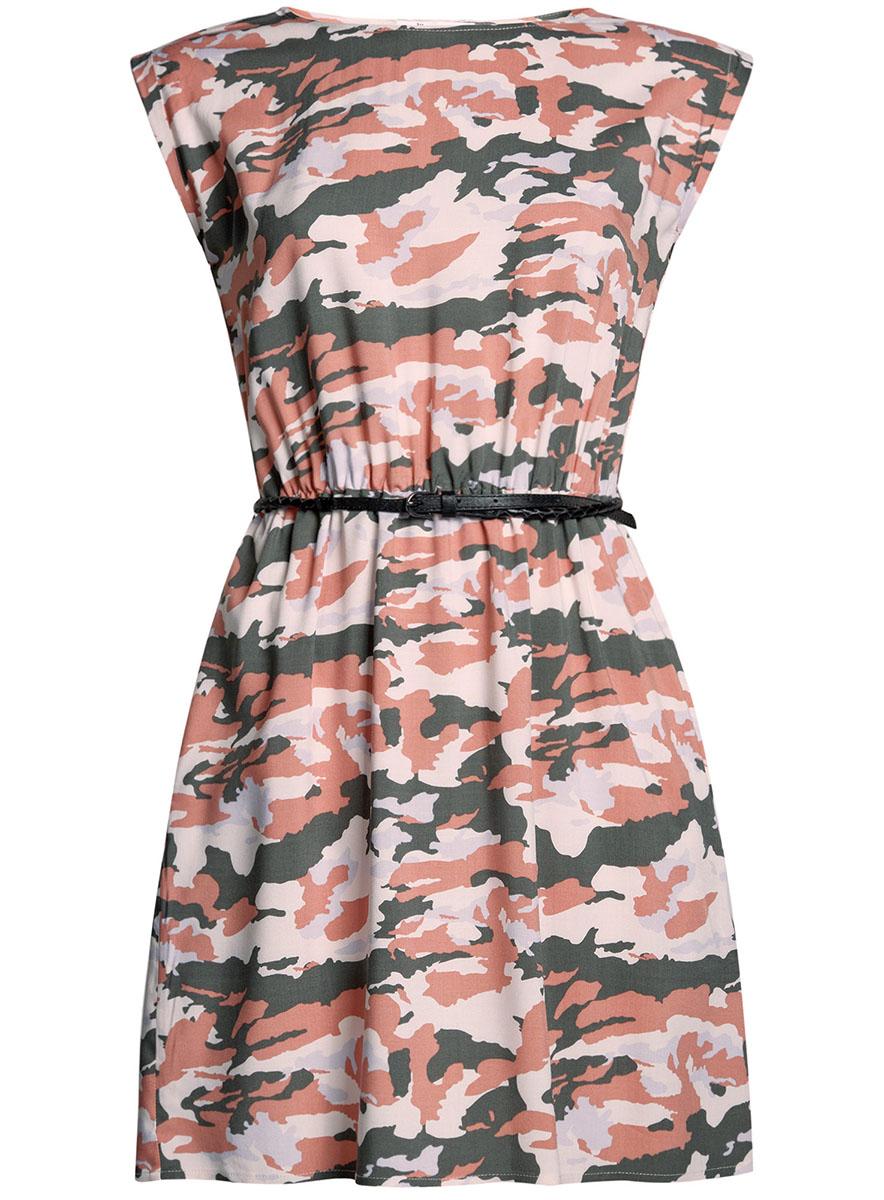 Платье oodji Ultra, цвет: персиковый, хаки. 11910073B/26346/5466O. Размер 34-170 (40-170)11910073B/26346/5466OПлатье oodji Ultra, выгодно подчеркивающее достоинства фигуры, выполнено из легкой струящейся ткани. Модель мини-длины с круглым вырезом горловины и короткими рукавами дополнена двумя прорезными карманами на юбке.В комплект с платьемвходит узкий ремень из искусственной кожи с металлической пряжкой.