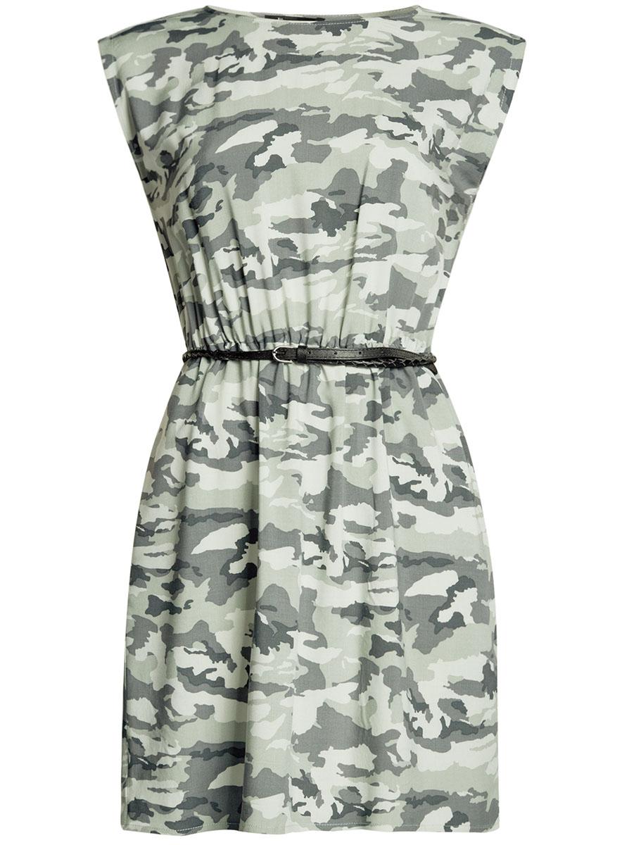 Платье oodji Ultra, цвет: светло-зеленый, зеленый. 11910073B/26346/6062O. Размер 42-170 (48-170)11910073B/26346/6062OПлатье oodji Ultra, выгодно подчеркивающее достоинства фигуры, выполнено из легкой струящейся ткани. Модель мини-длины с круглым вырезом горловины и короткими рукавами дополнена двумя прорезными карманами на юбке.В комплект с платьемвходит узкий ремень из искусственной кожи с металлической пряжкой.