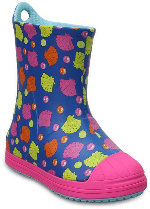 Резиновые сапоги для девочки Crocs, цвет: синий. 203516-4N3. Размер C6 (23)203516-4N3Резиновые сапоги детские Crocs - идеальная обувь в дождливую погоду. Подошва с протектором предотвращает скольжение. В таких резиновых сапогах ножкам ребенка будет уютно.