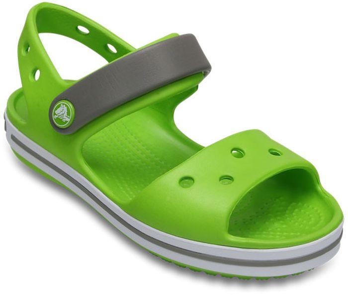 Сандалии детские Crocs, цвет: зеленый. 12856-3K9. Размер C6 (23)12856-3K9Модные сандалии от Crocs очаруют вашего ребенка с первого взгляда! Модель выполнена из полимера Croslite. Материал Croslite - бактериостатичен, препятствует появлению неприятных запахов и легок в уходе: быстро сохнет и не оставляет следов на любых поверхностях. Рельефная поверхность верхней части подошвы комфортна при движении. Рифленое основание подошвы гарантирует идеальное сцепление с любой поверхностью. Такие сандалии принесут комфорт и радость вашему ребенку.