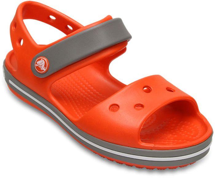 Сандалии детские Crocs, цвет: оранжевый. 12856-818. Размер C11 (28)12856-818Модные сандалии от Crocs очаруют вашего ребенка с первого взгляда! Модель выполнена из полимера Croslite. Материал Croslite - бактериостатичен, препятствует появлению неприятных запахов и легок в уходе: быстро сохнет и не оставляет следов на любых поверхностях. Рельефная поверхность верхней части подошвы комфортна при движении. Рифленое основание подошвы гарантирует идеальное сцепление с любой поверхностью. Такие сандалии принесут комфорт и радость вашему ребенку.