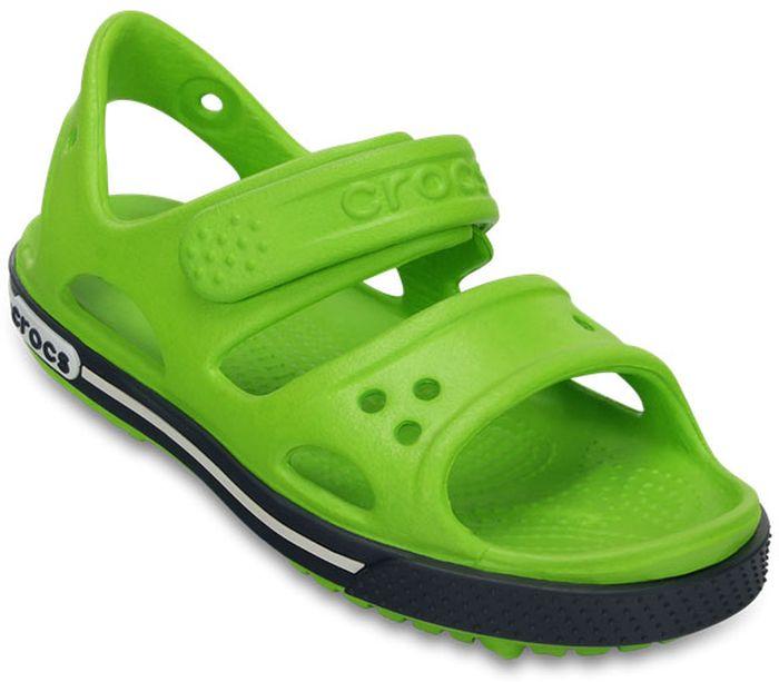 Сандалии для мальчика Crocs, цвет: зеленый. 14854-334. Размер J3 (34/35)14854-334Модные сандалии от Crocs очаруют вашего ребенка с первого взгляда! Модель выполнена из полимера Croslite. Материал Croslite - бактериостатичен, препятствует появлению неприятных запахов и легок в уходе: быстро сохнет и не оставляет следов на любых поверхностях. Рельефная поверхность верхней части подошвы комфортна при движении. Рифленое основание подошвы гарантирует идеальное сцепление с любой поверхностью. Такие сандалии принесут комфорт и радость вашему ребенку.