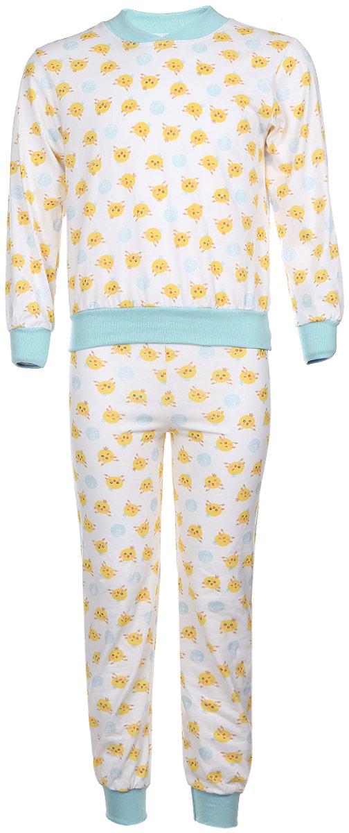 Пижама для девочки Чудесные одежки, цвет: белый, салатовый, желтый. 5. Размер 80/865Пижама для девочки Чудесные одежки выполнена из натурального хлопка. Пижама оформлена притом с милыми цыплятами. Кофта выполнена с длинными рукавами и удобным круглым воротом. Штанишки на талии собраны на резинку. Манжеты рукавов и штанишек, горловина и низ кофты отделаны эластичными мягкими резинками.