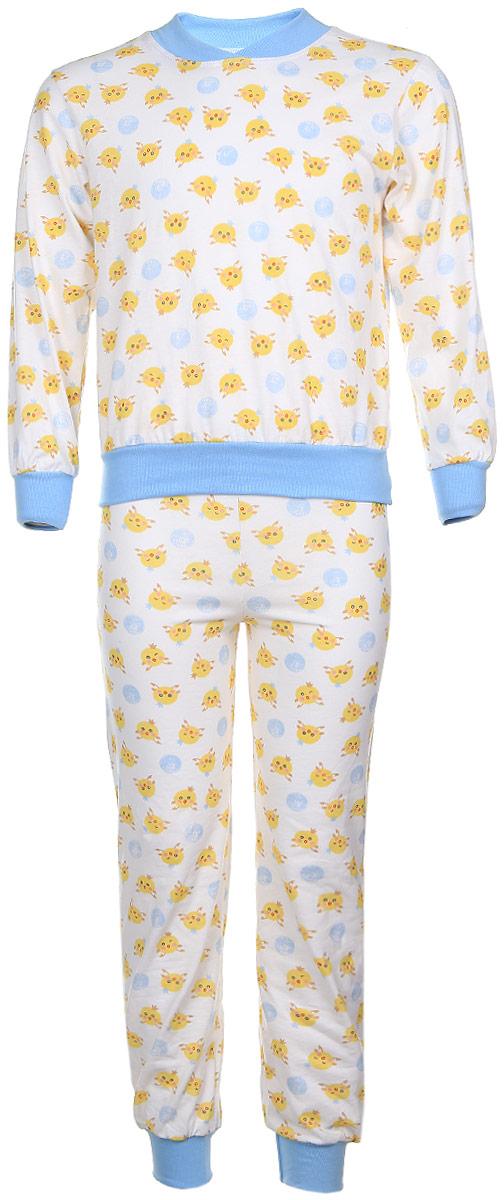 Пижама для мальчика Чудесные одежки, цвет: белый, голубой, желтый. 5. Размер 86/925Детская пижама Чудесные одежки выполнена из натурального хлопка. Пижама оформлена притом с милыми цыплятами. Кофта с длинными рукавами и удобным круглым воротом. Штанишки на талии собраны на резинку. Манжеты рукавов и штанишек, горловина и низ кофты отделаны эластичными мягкими резинками.