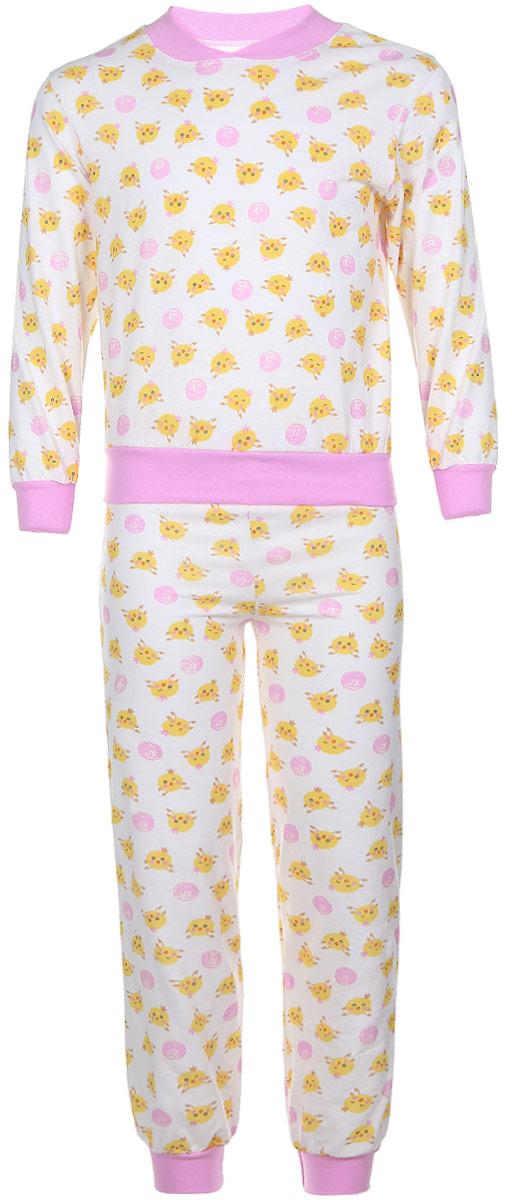 Пижама для девочки Чудесные одежки, цвет: белый, розовый, желтый. 5. Размер 80/865Пижама для девочки Чудесные одежки выполнена из натурального хлопка. Пижама оформлена притом с милыми цыплятами. Кофта выполнена с длинными рукавами и удобным круглым воротом. Штанишки на талии собраны на резинку. Манжеты рукавов и штанишек, горловина и низ кофты отделаны эластичными мягкими резинками.