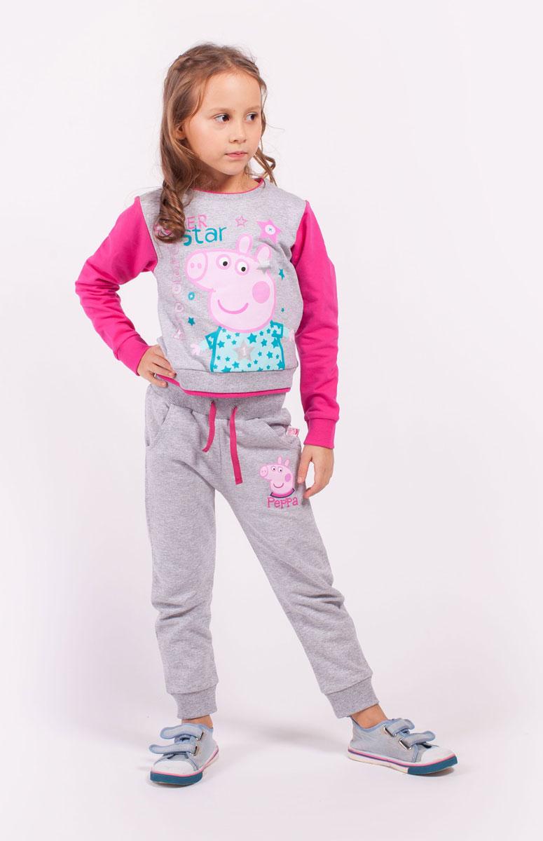 Свитшот для девочки Free Age Peppa Pig, цвет: серый, фуксия. ZG 09292-MF1. Размер 110, 5 летZG 09292-MF1Свитшот для девочки Peppa Pig от Free Age выполнен из плотной хлопковой ткани. Модель с круглым вырезом горловины и стандартными длинными рукавами. Спереди изделие декорировано ярким принтом.