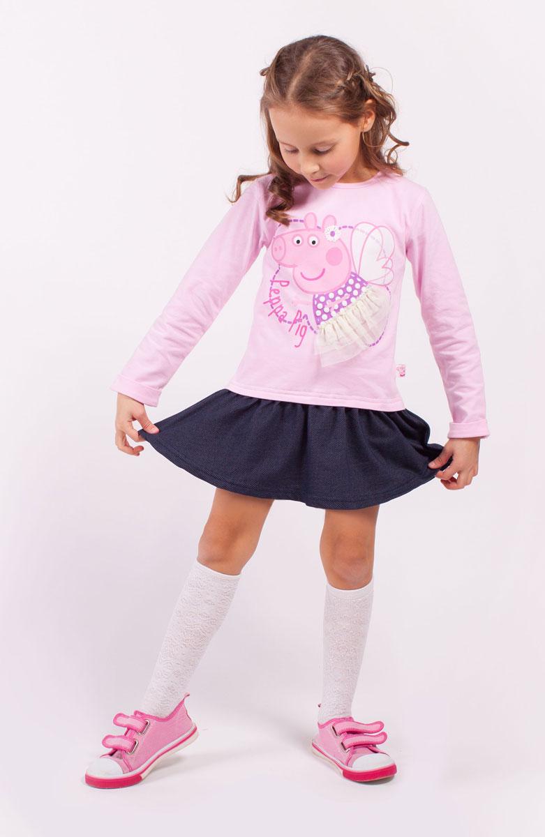 Платье для девочки Free Age Peppa Pig, цвет: розовый, темно-синий. ZG 14180-PD1. Размер 98, 3 годаZG 14180-PD1Платье для девочки Peppa Pig от Free Age выполнено из эластичной хлопковой ткани. Модель с круглым вырезом горловины и стандартными длинными рукавами. Спереди изделие декорировано ярким принтом и сетчатой оборкой. Низ дополнен юбкой в складку.