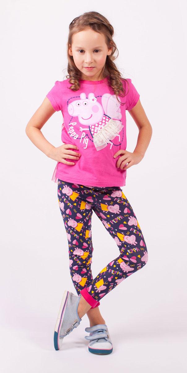 Футболка для девочки Free Age Peppa Pig, цвет: розовый. ZG 02504-F1. Размер 110, 5 летZG 02504-F1Стильная футболка для девочки Free Age Peppa Pig станет стильным дополнением к гардеробу маленькой модницы. Изготовленная из натурального хлопка, она мягкая и приятная на ощупь.Футболка с короткими рукавами и круглым вырезом горловины оформлена термоаппликацией с изображением мультипликационного героя Свинки Пеппа, а также надписью. Спинка футболки декорирована прозрачной сетчатой тканью.