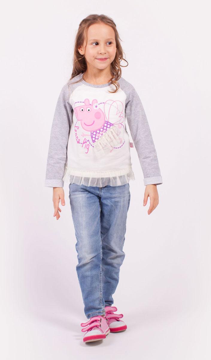Свитшот для девочки Free Age Peppa Pig, цвет: серый, белый, розовый. ZG 09291-MW1. Размер 104, 4 годаZG 09291-MW1Свитшот для девочки Peppa Pig от Free Age выполнен из плотной хлопковой ткани. Модель с круглым вырезом горловины и длинными рукавами реглан. Изделие декорировано ярким принтом и сетчатой отделкой.