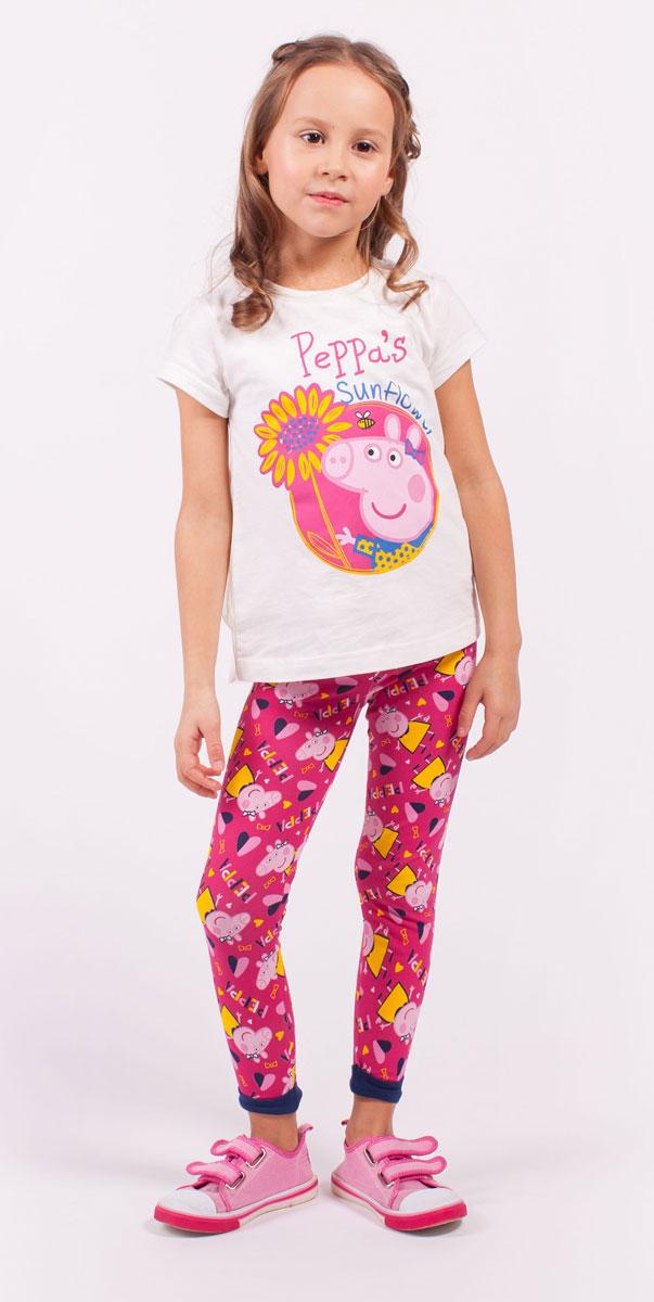 Леггинсы для девочки Free Age Peppa Pig, цвет: розовый, желтый. ZG 19284-F1. Размер 110, 5 летZG 19284-F1Леггинсы для девочки Free Age Peppa Pig изготовлены из натурального хлопка с добавлением эластана. Леггинсы в поясе имеют широкую эластичную резинку на поясе и небольшие контрастные манжеты по низу брючин. Изделие оформлено термоаппликацией с изображением мультипликационного героя Свинки Пеппа, а также надписью.