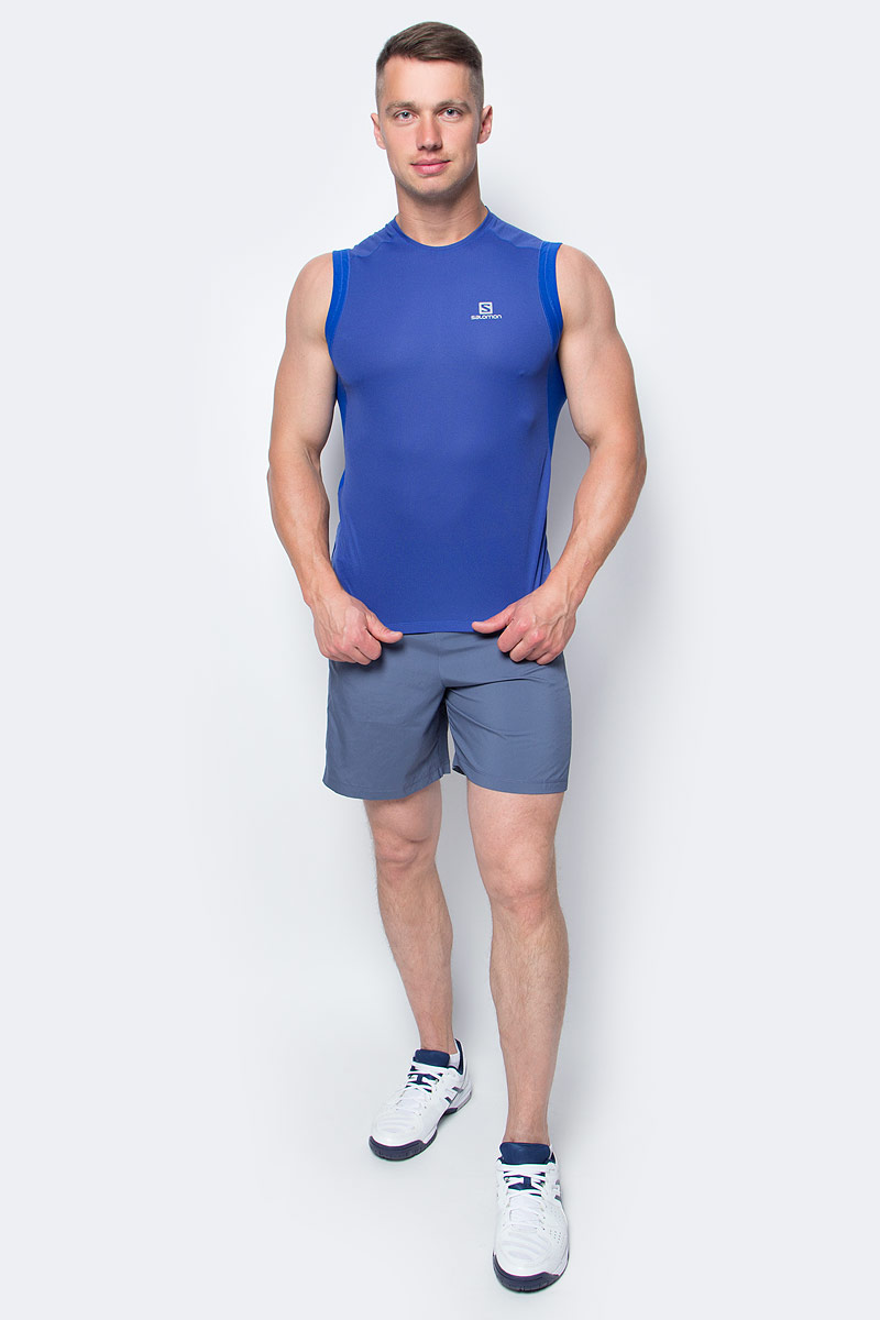 Майка для бега мужская Salomon Trail Runner Sleev Tee M, цвет: синий. L39259800. Размер L (52/54)L39259800Майка Salomon идеально подходит для занятий бегом или хайкинга в жаркую погоду. Мужская футболка обеспечивает полную свободу движений и вентиляцию, прекрасно сидит при надетом рюкзаке.