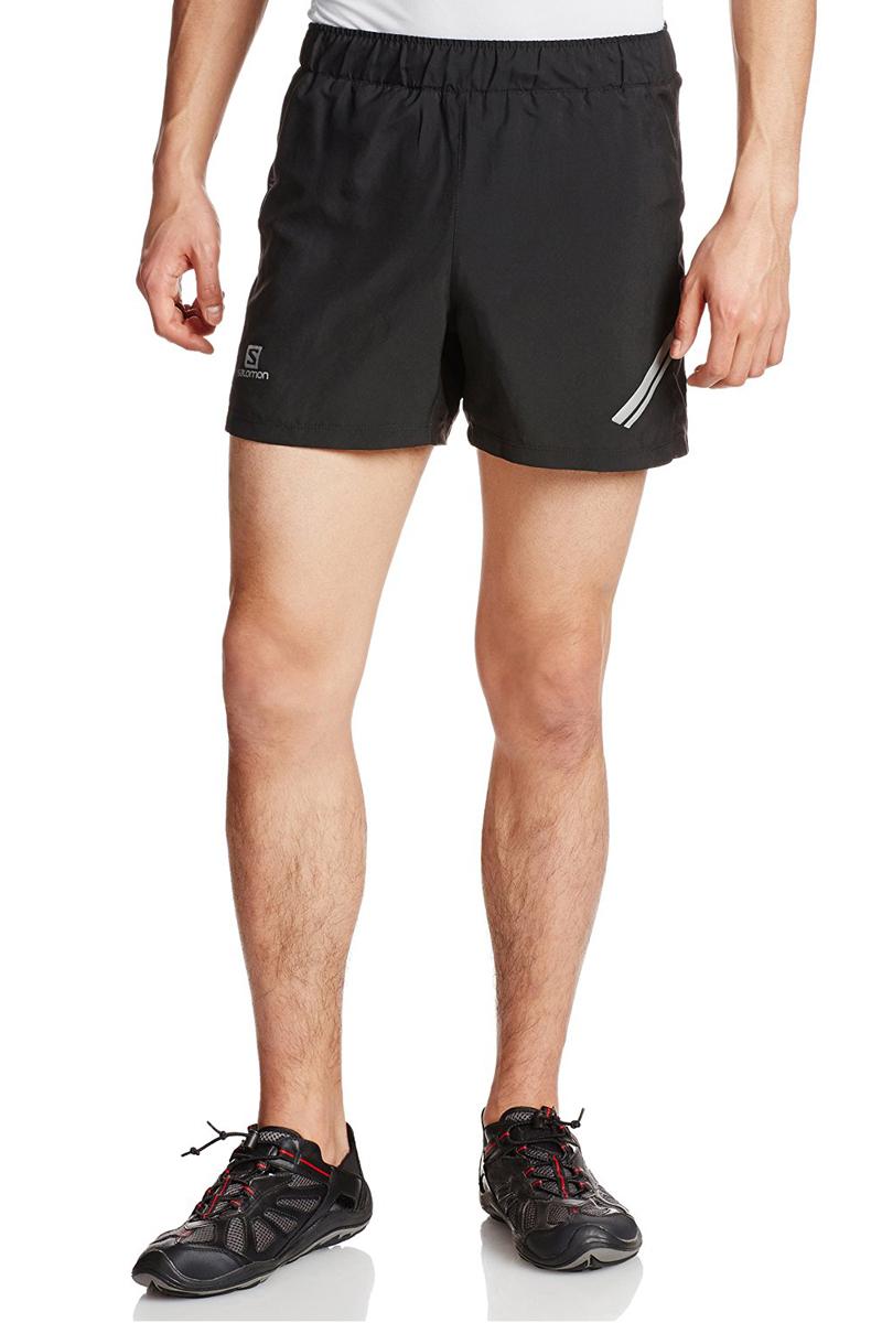 Шорты для бега мужские Salomon Agile Short M, цвет: черный. L37119500. Размер M (48/50)L37119500Легкие шорты Agile в сдержанном стиле отлично подходят для бега и занятий другими летними видами спорта. На пояснице расположен удобный сетчатый карман на молнии для ключей.