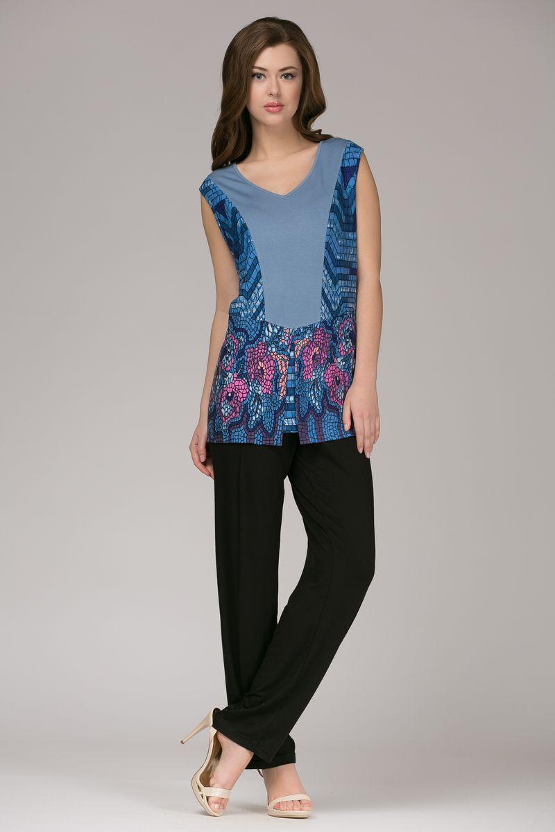 Комплект женский Tesoro: топ, брюки, цвет: пепельно-голубой. 334К1. Размер 50334К1Стильный домашний комплект, выполненный из натурального полотна. Короткие брючки на шнурке с втачными карманами. Топ с коротким рукавом.