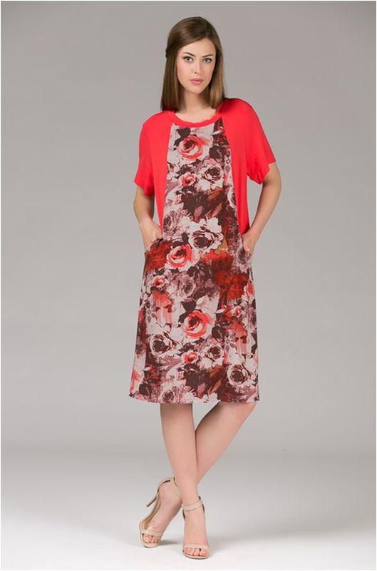 Платье домашнее женское Tesoro, цвет: коралловый. 389Пл1. Размер 50389Пл1Великолепное платье из вискозы с эффектом накидки.