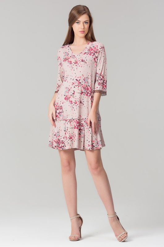 Туника женская Tesoro, цвет: светло-кофейный. 408Т1. Размер 48408Т1Домашняя туника-платье из нежной вискозы.